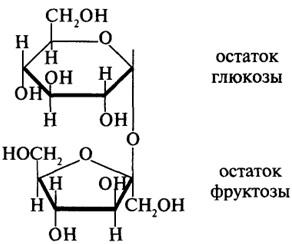 Сахароза = глюкоза + фруктоза