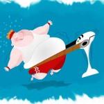 толстяк на тренажере - карикатура