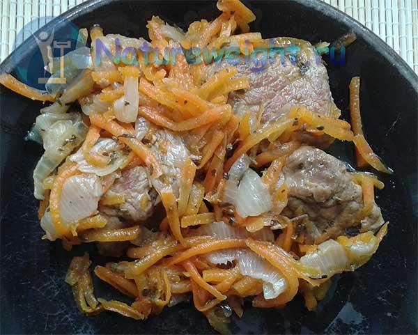 мясо тушеное с луком, морковью и специями