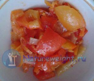 лечо из болгарского перца, помидоров, моркови и лука