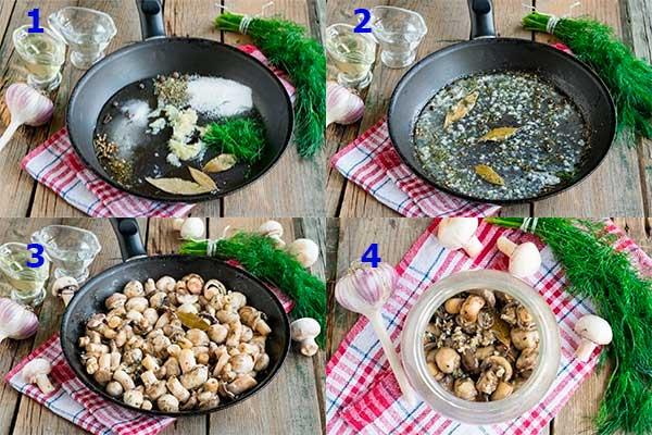 схема приготовления грибов в маринаде