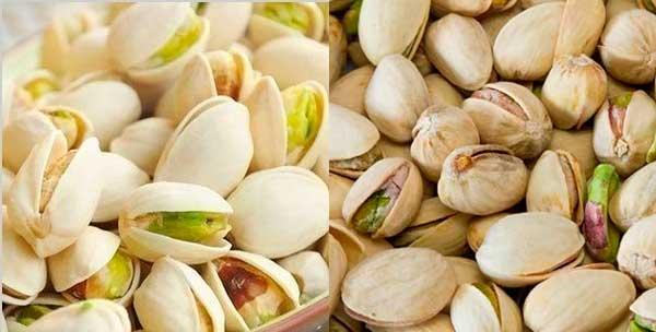 Обесцвеченные и нормальные фисташковые орехи