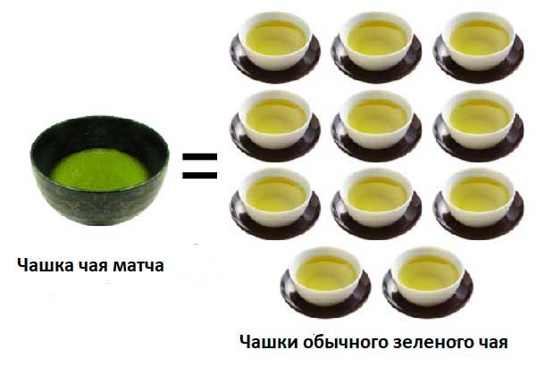соотношение питательных веществ в японском чае маття и других зеленых чаях