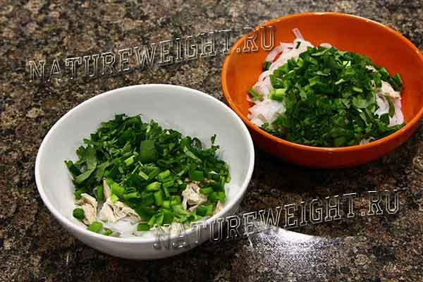 зелень и курица в миске
