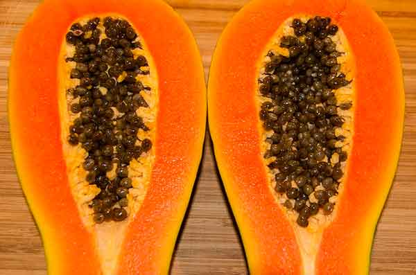 плод папайя в разрезе