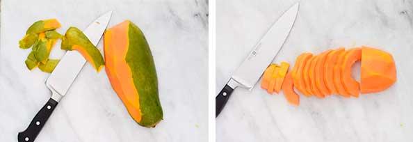 очищение и разрез фрукта
