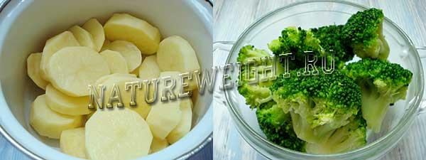 картошка и брокколи
