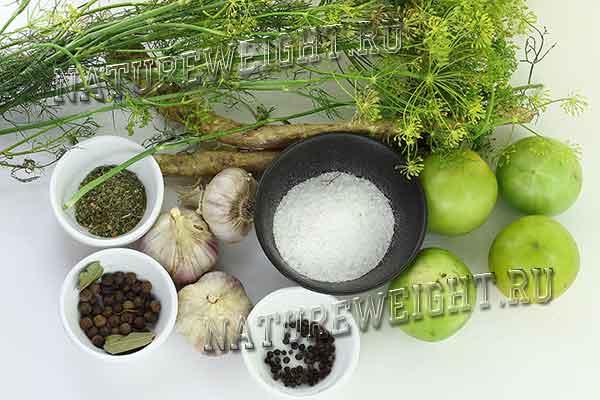 ингредиенты для засолки помидор