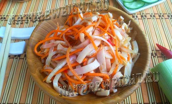 домашнее хе из кальмаров с морковью и луком